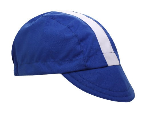 Walz Blue – White Racing Stripe Cotton Cycling Cap – Velotastic f59f64bb7ea1