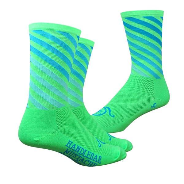 Handlebar Mustache Decade Pro Green Socks